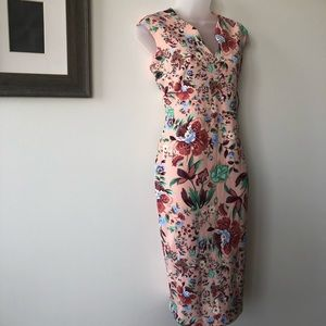 NWT NY & Co Stretch pink floral dress -fitted midi